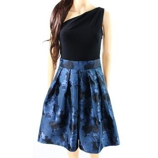 Lauren Ralph Lauren NEW Blue Women's 14 Pleated One Shoulder Tea Dress