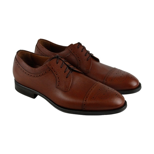 Aquatalia Duke Scotch Grain Mens Brown Leather Casual Dress Oxfords Shoes