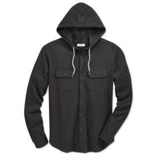 Univibe NEW Black Men Size Large L Drawstring Hooded Pocketed Shirt
