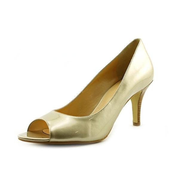 Cole Haan Air Lainey.OT.Pump Women Open-Toe Patent Leather Gold Heels