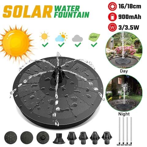 16/18cm Solar Fountain Solar Water Fountain 3/3.5W 900mAh Battery Fountain Pump for Birdbath Pond Garden - 16CM