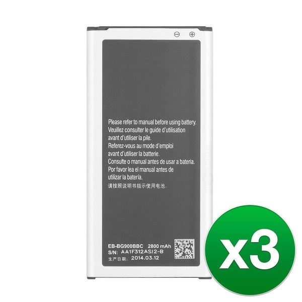 Replacement EB-BG900BBU Battery for Samsung Galaxy S5 T-Mobile Cell Phone Models (3 Pack)