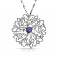 Bling Jewelry Imitation Amethyst CZ Open Swirl Pin Pendant Rhodium Plated Necklace 18 Inch