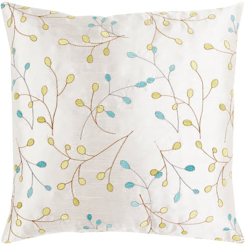 Sofiya Modern Floral White Feather Down or Poly Filled Throw Pillow 22-inch
