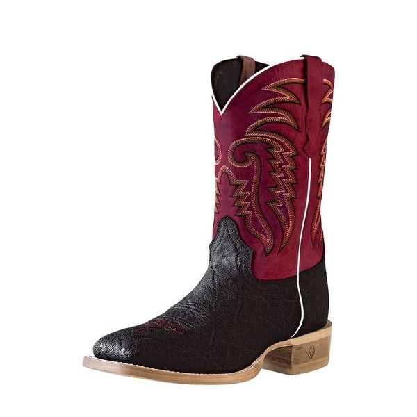 Outlaw Western Boots Mens Elephant Print Square Black Boston Red