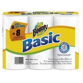 Bounty 80278539 Basic Big Roll Paper Towel, White, 6 Roll/Pack