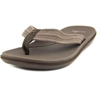 Sanuk Planer Webbing Men Open Toe Canvas Brown Flip Flop Sandal