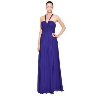 Robert Rodriguez Ultraviolet Silk Ruched Chiffon Long Evening Gown Dress