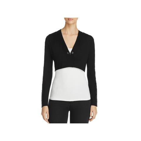 Elie Tahari Womens Ashlyn Shrug Sweater Merino Wool Lace Trim