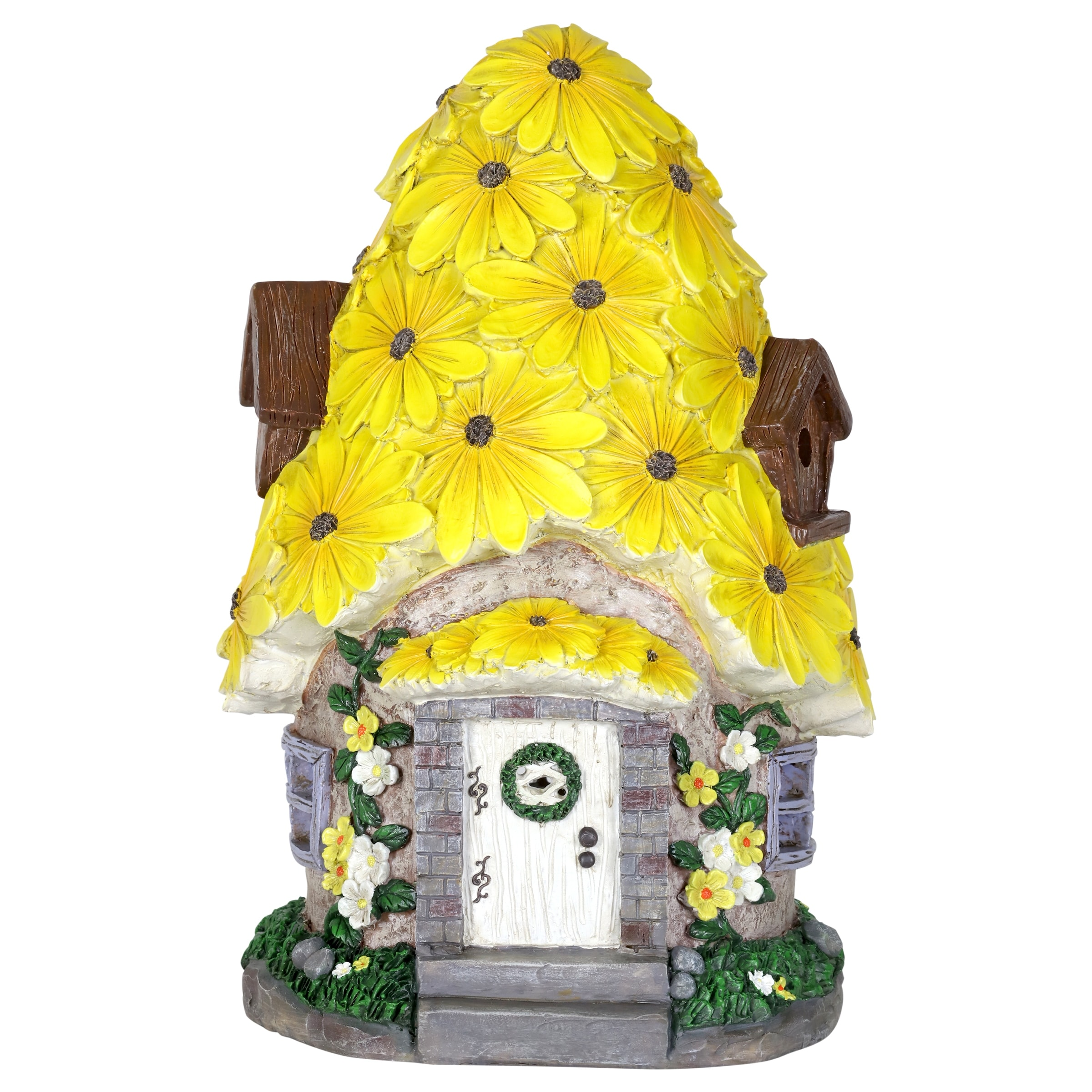 Fairy House Solar Garden Ornament Pixie Lawn Secret Gift Flower Roof