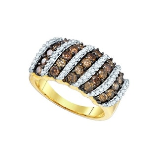 10kt Yellow Gold Womens Round Cognac-brown Colored Diamond Striped Cocktail Fashion Ring 1 & 1/2 Cttw - Brown/White