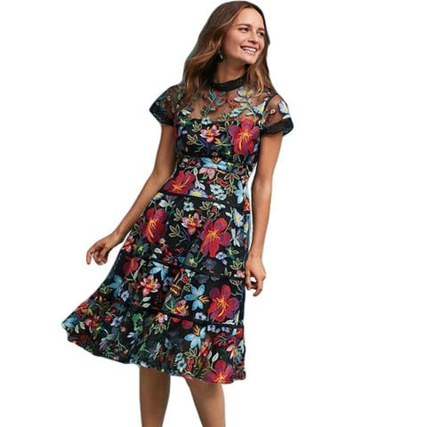 Flower Embroidery Lace Longue Short Sleeve Casual Party Long Dresses 4 9 - picture color