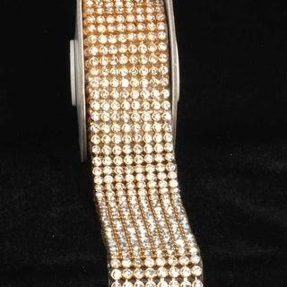 "Crystal Diamond Craft Ribbon Trim with Gold Setting 1.5"" x 1 Yard"