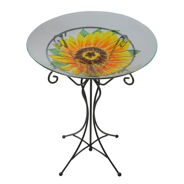 "23.5"" Yellow Sunflower Spring Outdoor Patio Hand Painted Glass Garden Bird Bath - N/A"