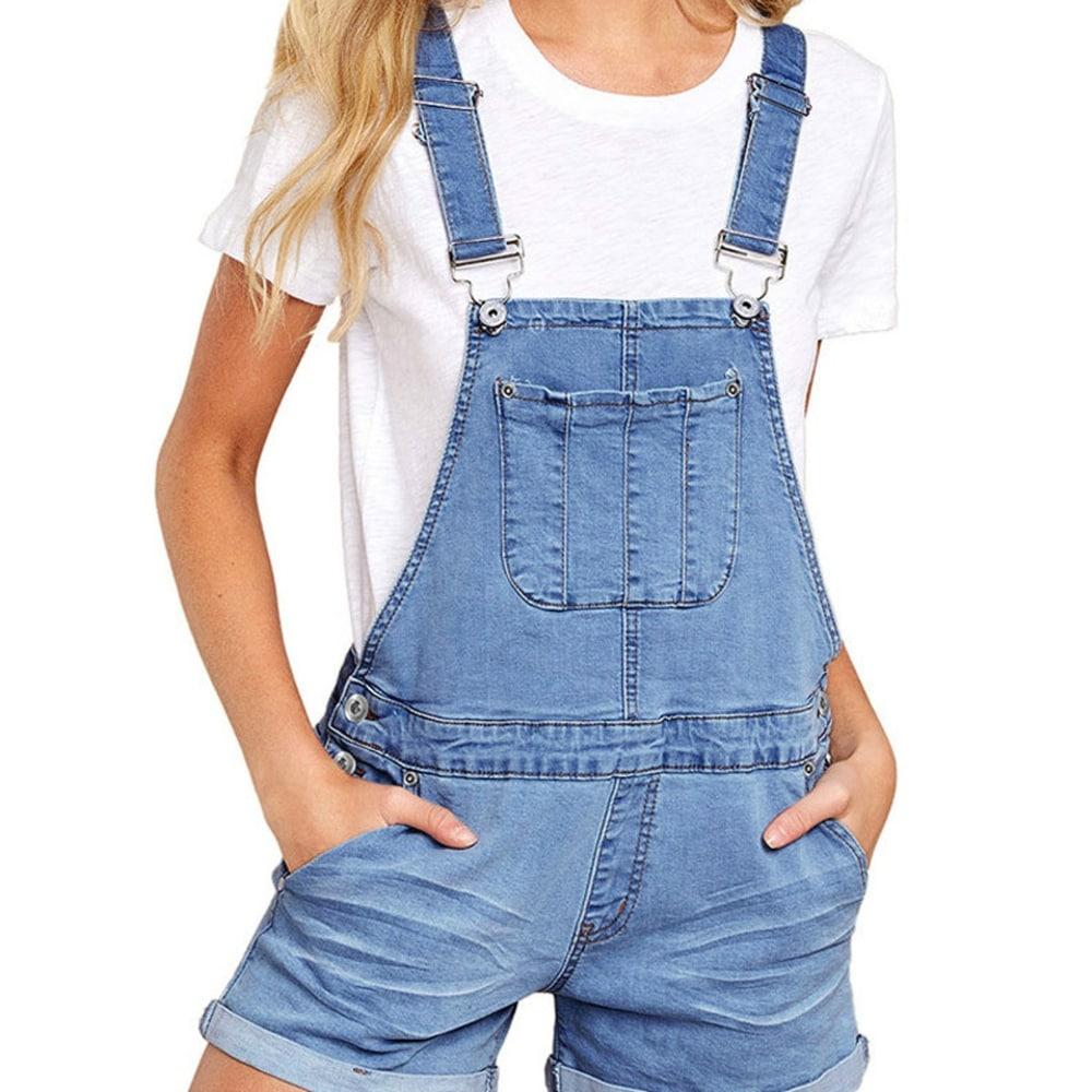 Womens Juniors Cute Denim Overall Shorts