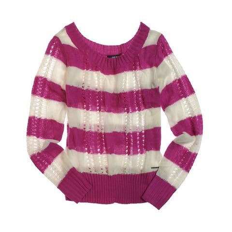 Ecko Unltd. Womens Open Neck Stripe Cable Knit Sweater