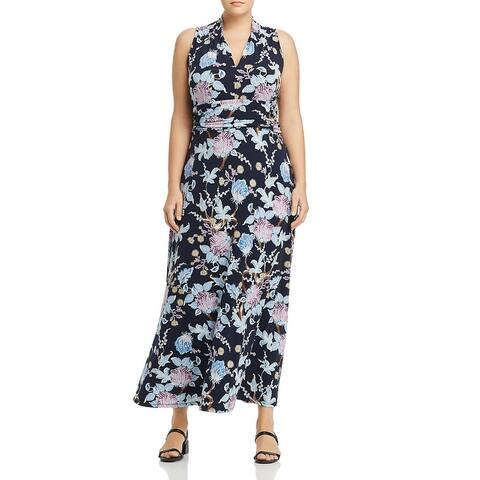 Vince Camuto Womens Plus Poetic Blooms Maxi Dress Floral V-Neck - Classic Navy