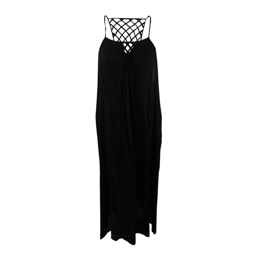 Raviya Womens Lattice-Back Maxi Dress Cover-Up - Black