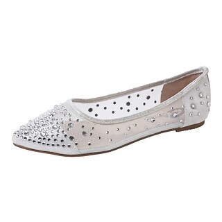 Sweetie's Shoes Silver Beaded Rihanna Flats 5.5-11 Womens