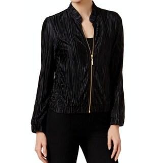 MSK NEW Black Womens Size Medium M Embellished-Zip Pleated Bomber Jacket