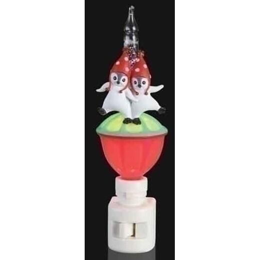 "6.5"" Double Penguin Christmas Glitter Bubble Night Light - CLEAR"