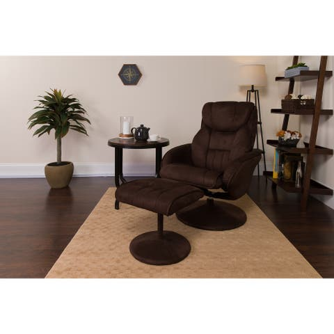 Contemporary MIC Multi-Position Recliner and Ottoman with Wrapped Base