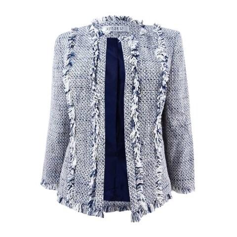 Kasper Women's Flyaway Novelty Tweed Jacket - Ivory Multi