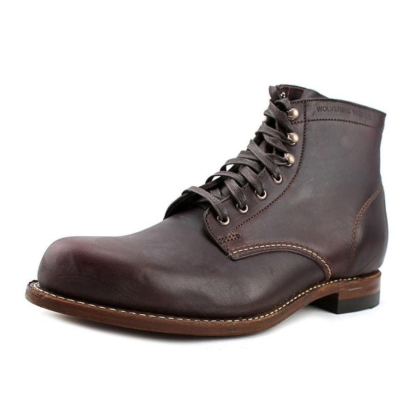 Wolverine Cordovan Men Round Toe Leather Burgundy Work Boot