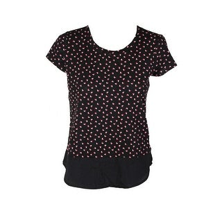 Maison Jules Black Short-Sleeve Polka-Dot Contrast Top S