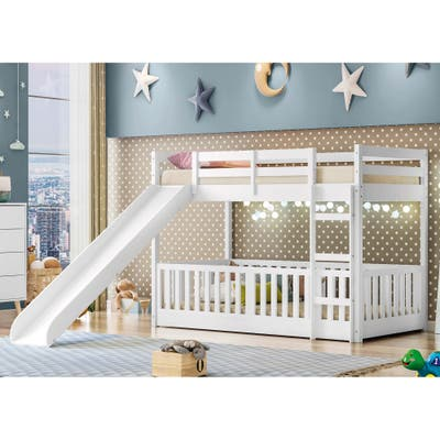 Themes and Rooms Twin Over Twin Solid Wood Low Loft Bunk Bed with Slide and Guardrail