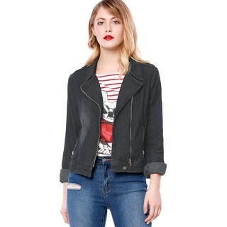 Allegra K Women Notched Lapel Asymmetric Zip Moto Denim Jacket