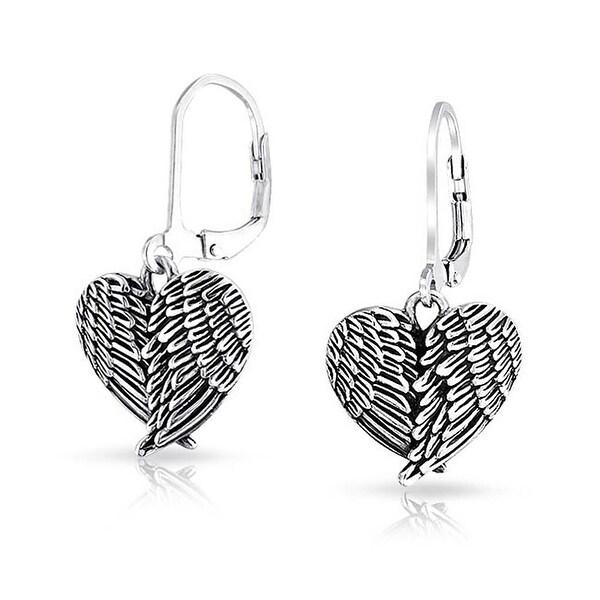 Oxidized Angel Wing Heart Sterling Silver Leverback Earrings