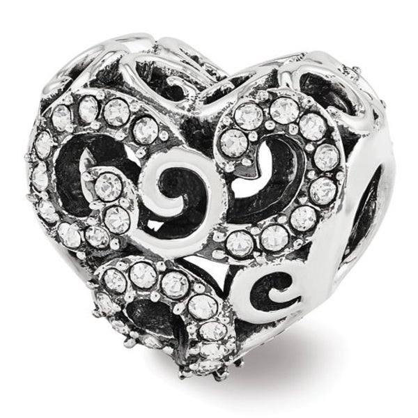 Sterling Silver Reflections Swarovski Elements Filigree Heart Bead (4mm Diameter Hole)