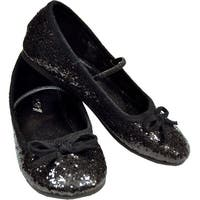 Flat Glitter Ballet Child Costume Shoes, Black