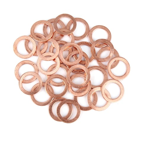 30pcs Copper Washer Flat Sealing Gasket Ring Spacer for Car 14 x 20 x 1.5mm