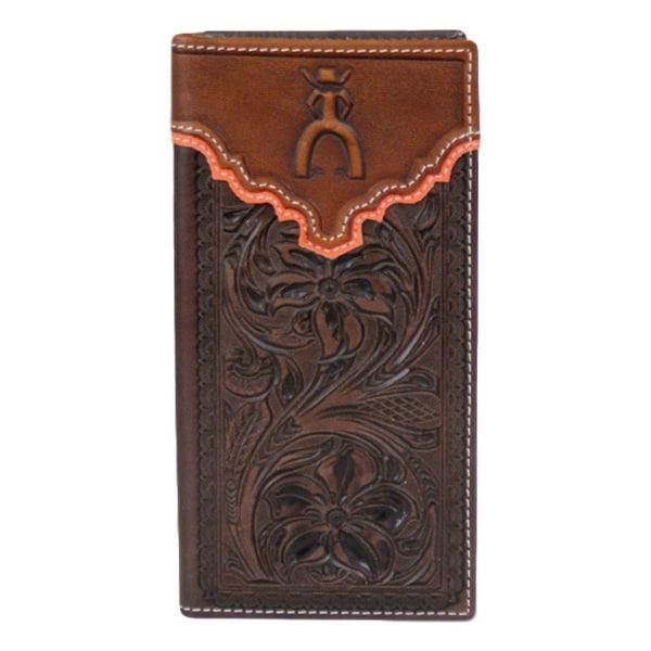 HOOey Western Wallet Mens Punchy Rodeo Logo Slots Mahogany - 3 1/2 x 3/4 x 7