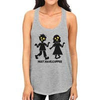 Coffee Zombies Womens Halloween Tank Top Racerback Grey Cotton