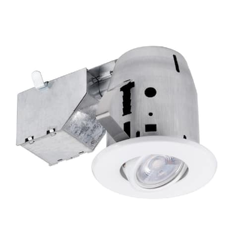 """Globe 91194 LED Recessed Directional Downlight Kit, Frost, White, 3"""" W"""