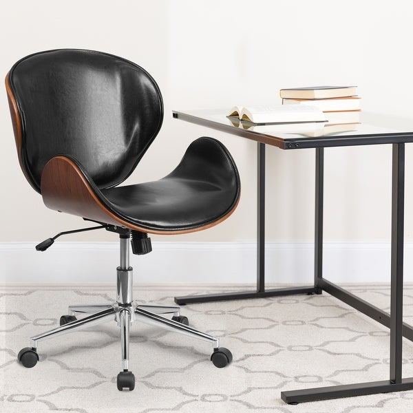 Mid-Back Wood Conference Office Chair with LeatherSoft Seat. Opens flyout.