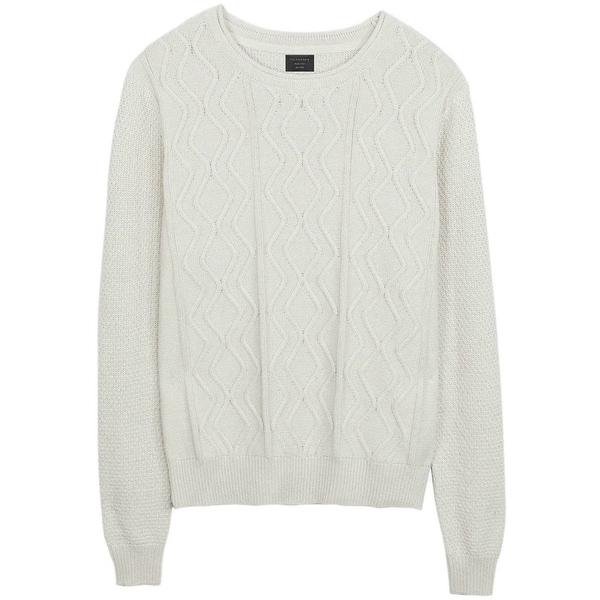 28fd811d7800ff Shop 7 Diamonds Oatmeal Mens Crewneck Cable Knit Sweater - Free Shipping On  Orders Over  45 - Overstock - 27023163