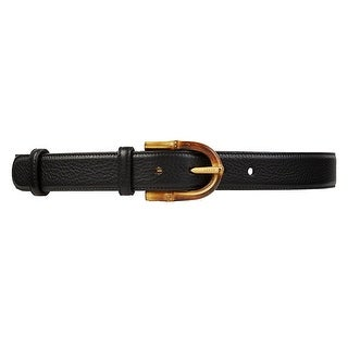 Gucci Women's Black Leather Bamboo Buckle Belt 322954 1000