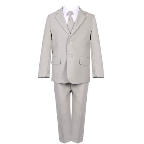 Rain Kids Boys Silver Slim Fit Fancy 5 pc Special Occasion Suit Set