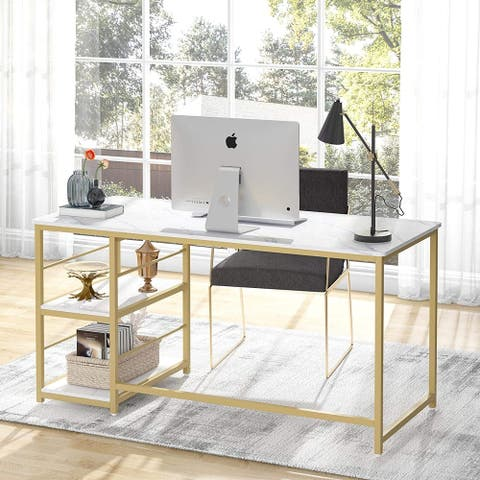 Modern Computer Writing Desk with Storage Shelves for Home Office