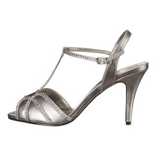 Caparros Womens jagger Open Toe Ankle Strap Classic Pumps Grey suede Size 8.0