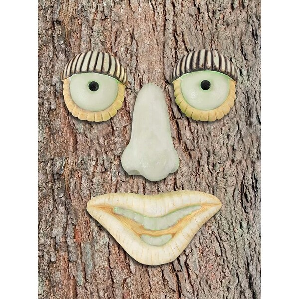 Glow In The Dark Tree Face Yard Art - Funny Outdoor Weatherproof Tree Hugger - Big Nose or Mustache Face Decorations