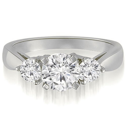 1.25 cttw. 14K White Gold Classic Three-Stone Round Cut Diamond Engagement Ring