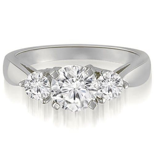 1.50 cttw. 14K White Gold Classic Three-Stone Round Cut Diamond Engagement Ring