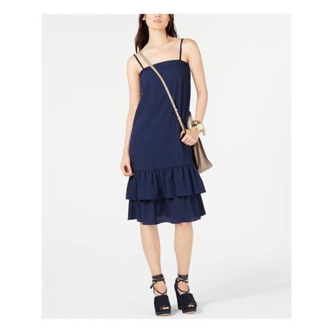 MICHAEL KORS Navy Spaghetti Strap Knee Length Shift Dress Size L