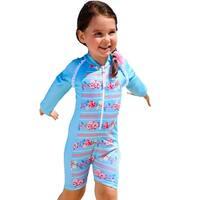 Sun Emporium Little Girls Sky Blue Pink Long Sleeve Front Zip Sun Suit