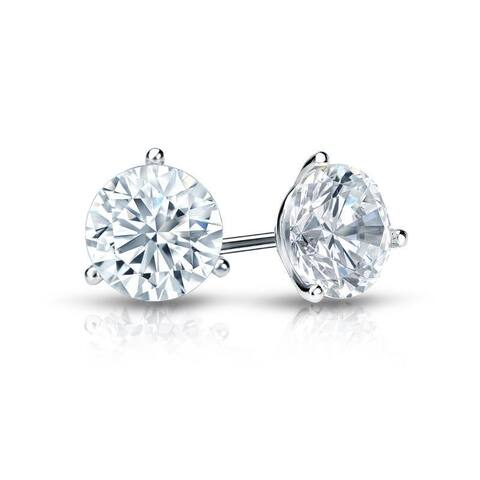 Auriya 14k Gold Round Diamond Stud Earrings 1 1/2ctw Martini-set GIA Certified